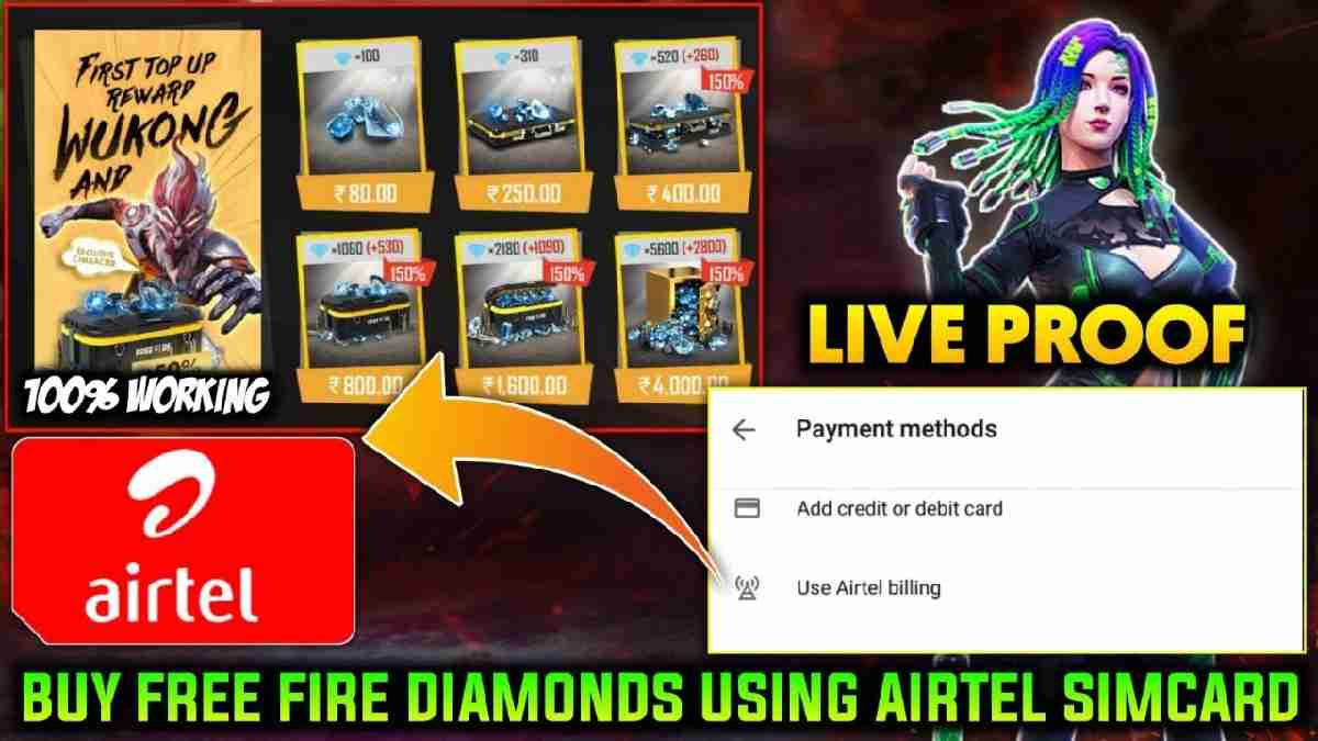 Free Fire Top up with Airtel SIM